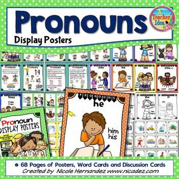 Pronouns Kid-Friendly Posters for Kindergarten