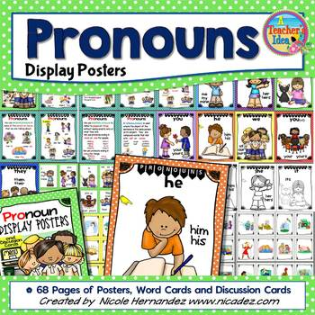Pronouns Kid-Friendly Posters for Kindergarten