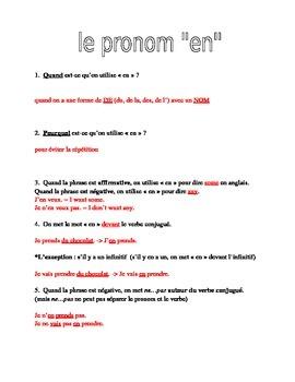 Pronoun EN : introduction and practice
