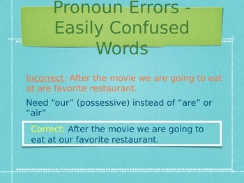 Teaching Grammar in Writing: Pronoun Errors PowerPoint and Notes Page