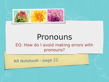 Teaching Grammar in Writing: Pronoun Errors PowerPoint and