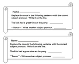 Pronoun Exit Tickets