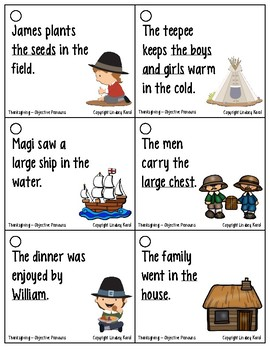 Pronoun Flashcards for Thanksgiving