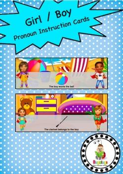 Pronoun Girl Boy Instruction Cards
