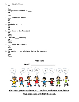 Pronoun Grammar Packet