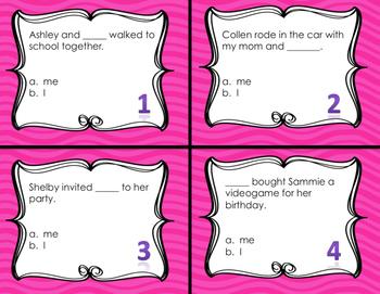Pronoun I and Me Task Cards