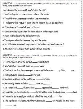 Pronoun Practice Worksheets