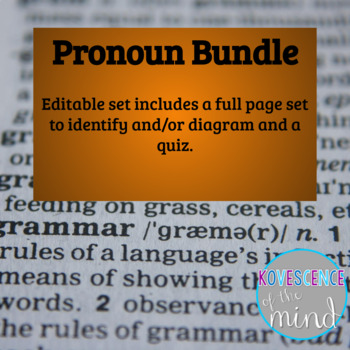 Pronoun Pack: Identify, Diagram, List, and Test