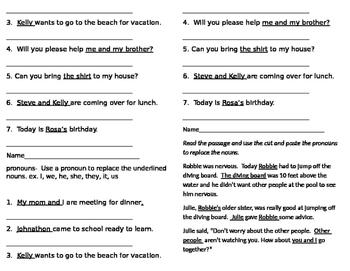 Pronoun Pack--pretest, worksheets, assessment