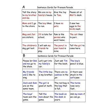 Pronoun Parade Freebie - Game and Worksheet