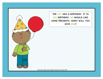 Pronoun Party! Cut + Paste Oral Language Activity (SLP/Preschool/Kindergarten)