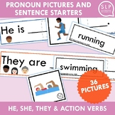 Pronouns He She They and Action Verbs Activity for Speech Therapy