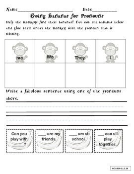 Pronoun Pocket Chart Literacy Center Activity