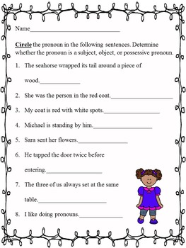 Pronouns:  Activities with Pronouns