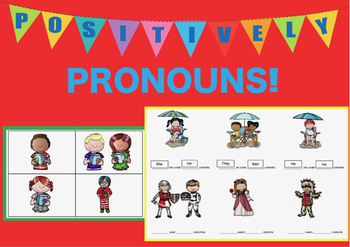 Positively Pronouns: Color, Black & White, and Boom Cards!