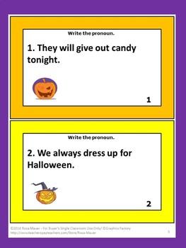 Pronouns Halloween Writing Task Cards Language Arts
