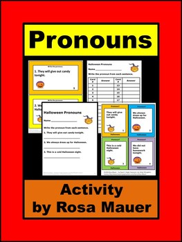 Halloween Pronouns Task Cards and Worksheets