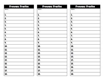 Pronoun Practice Task Cards