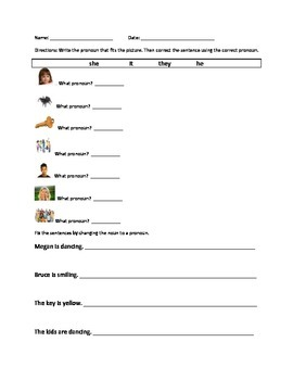 Pronoun Practice with Sentences