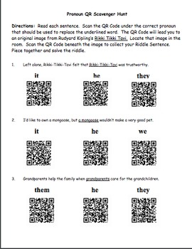 QR Code Scavenger Hunt - Pronouns