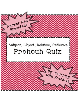 Pronoun Quiz: Subject, Object, Relative, and Reflexive Pronoun Assessment