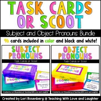 Scoot or Task Card Bundle Pack: Pronouns Edition