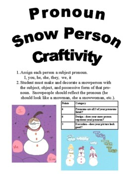 Pronoun Snow Person Craftivity
