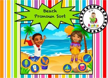 Pronoun Sort at the Beach Game