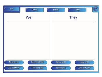 Pronoun Sort for SmartBoard Common Core ELA