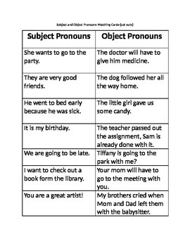 Pronoun- Subject and Object Matching Cards