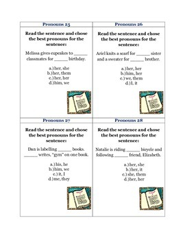 Pronouns: 42 CC L.2.1.c & CC L.3.1.a Common Core Task Cards