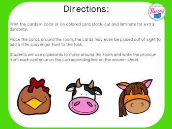 Pronoun Task Cards - Owls
