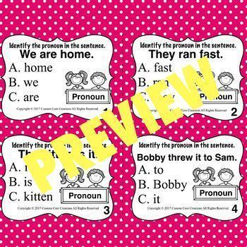 Pronoun Task Cards (Parts of speech)
