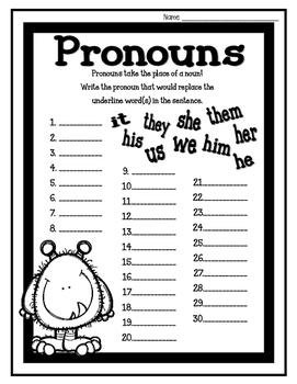 Pronoun Task Cards/ Scoot Cards