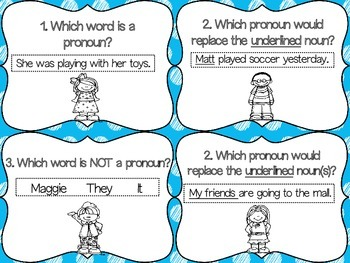 Pronoun Task Cards: With and Without QR Codes
