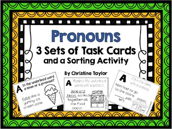Pronoun Task Cards and Sorting Activity