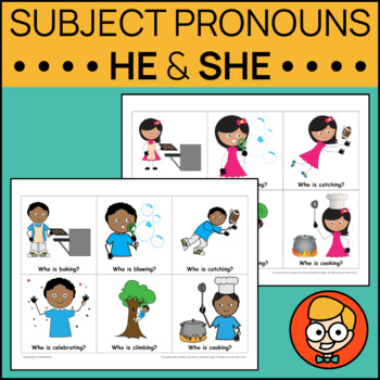 Pronoun Task Cards for He & She