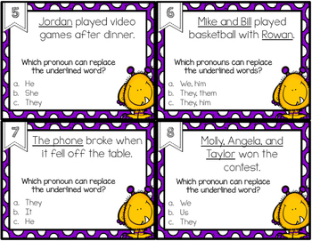 Pronoun Task Cards or SCOOT