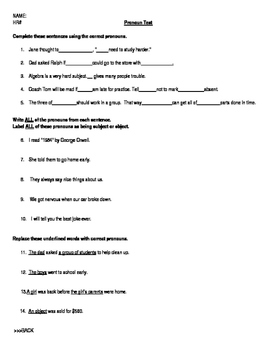 Pronoun: Test