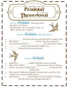 Pronoun Throwdown Worksheet