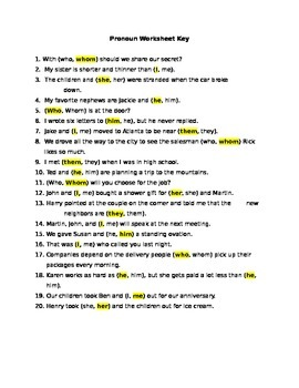 Grammar: Pronoun Use (Case) Worksheet