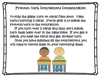 Pronoun-Verb Contraction Concentration Game