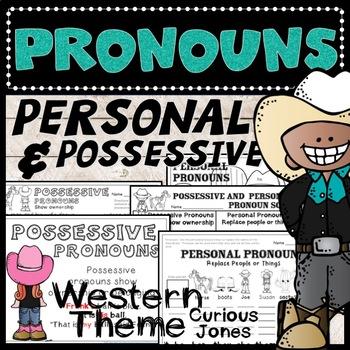 Personal and Possessive Pronouns L.1.1d - Western Theme Activities - No Prep!