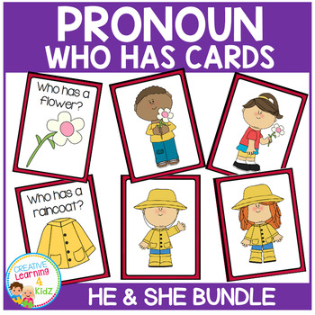 Pronoun Who Has Cards Bundle He & She