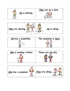 Pronoun Winter Bingo