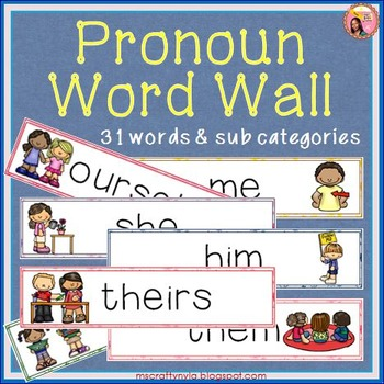 Pronouns Word Wall - Illustrated