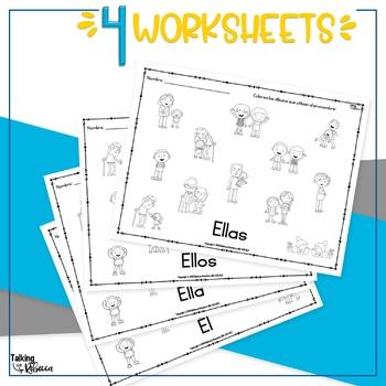 Spanish Speech Therapy Pronoun Worksheet Freebie