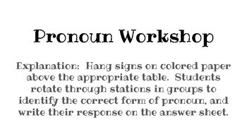 Pronoun Workshop - Common Core Aligned!