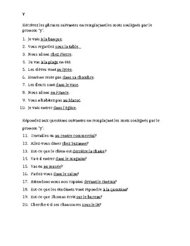 Pronoms compléments Y French pronoun worksheet