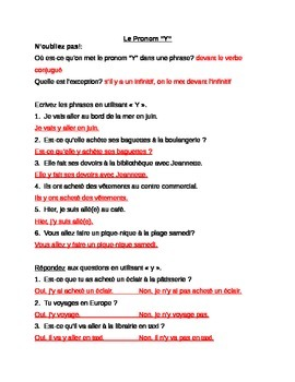 Pronoun Y : practice sheets